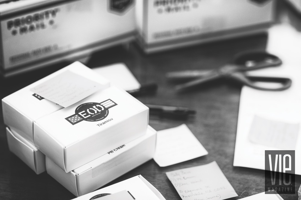 Black And White Image Of Boxes Of EOD Fudge