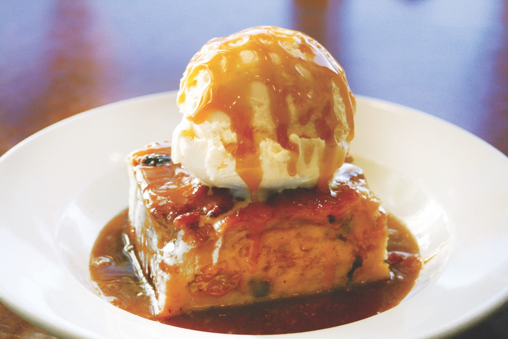 New Orleans Bread Pudding With Vanilla Ice Cream and Drizzled Caramel From 723 Whiskey Bravo