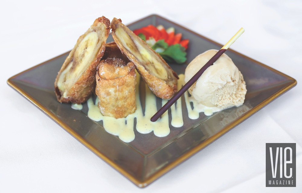 Spiced Banana Spring Rolls With A Side Of Vanilla Ice Cream By Basmati's