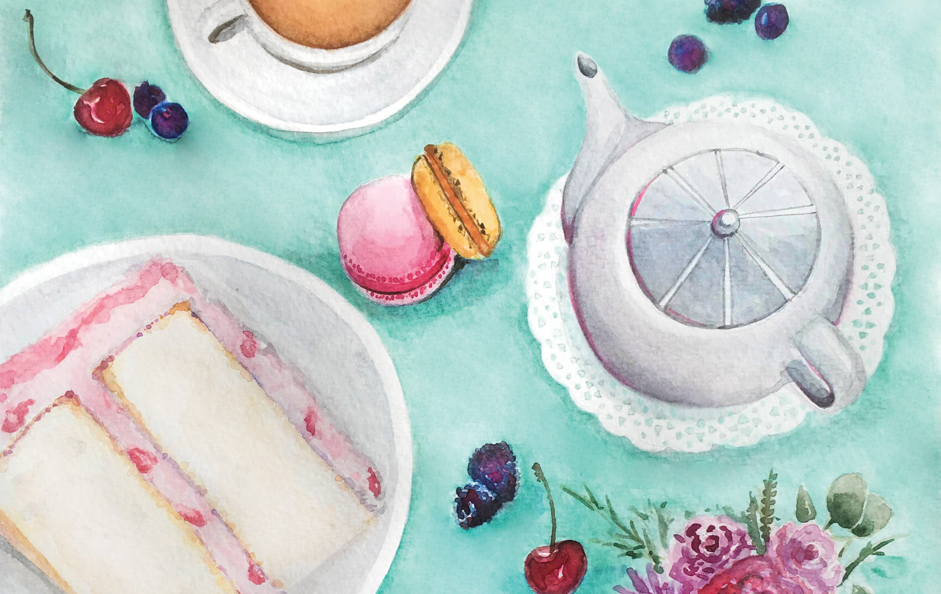 Tea Time And Sweet Dessert Watercolor Illustration By Lucy Mashburn With A Tiffany Blue Background