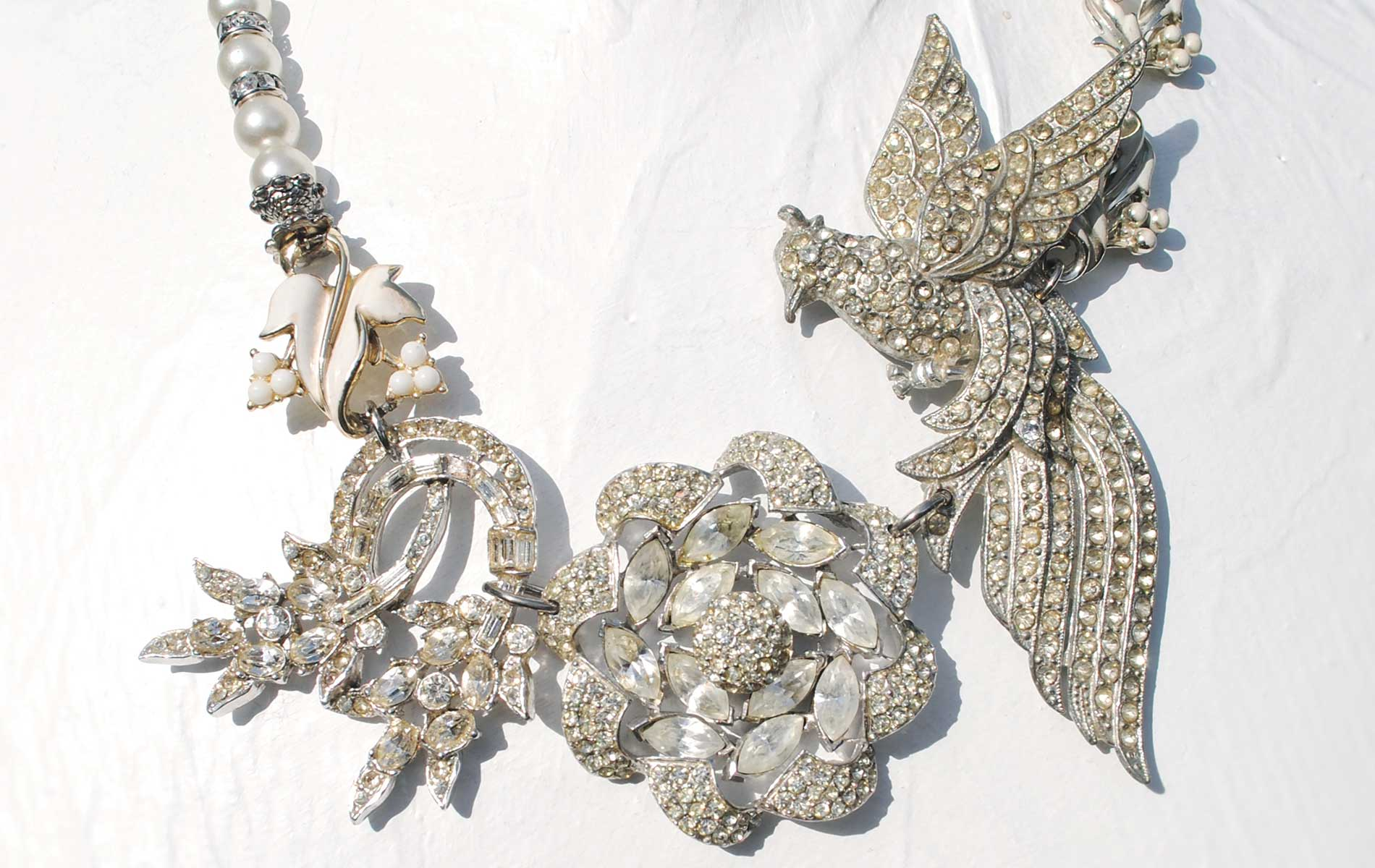Bold Adorn By Samouce Statement Necklace Composed of Pearls and Rhinestones