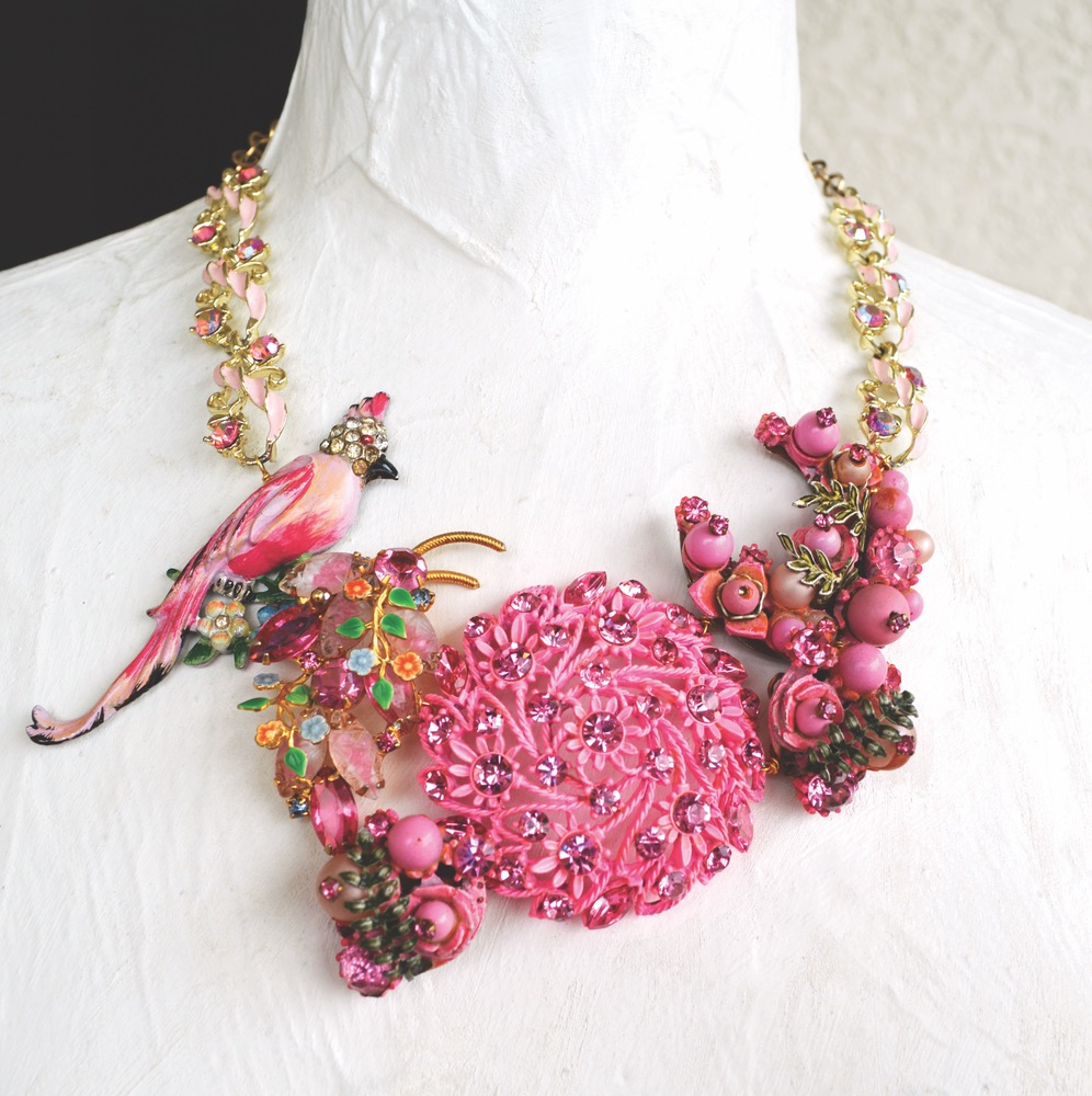 Spring-Inspired Necklace With Pink Enamel Bird and Flowers With Antique Gold Chain