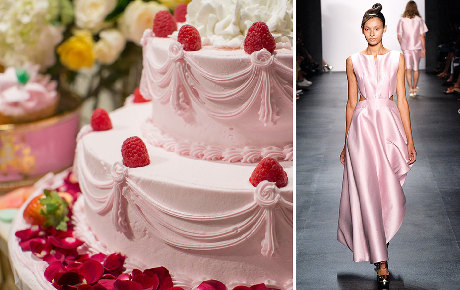 new york fashion week spring/summer 2016 pink dress and cake