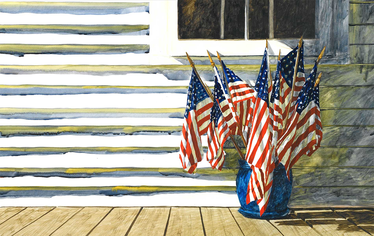 An American Masterpiece Painting by Barbara Ernst Prey Featuring American Flags