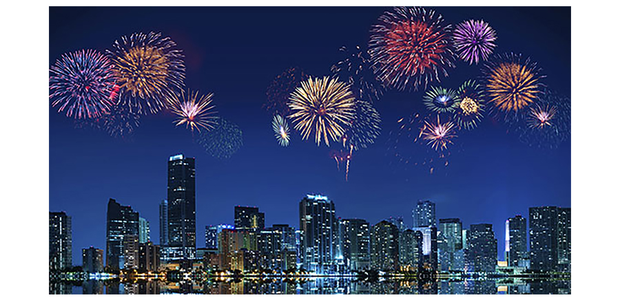 Stunning Firework Display over Miami Skyline and Beach