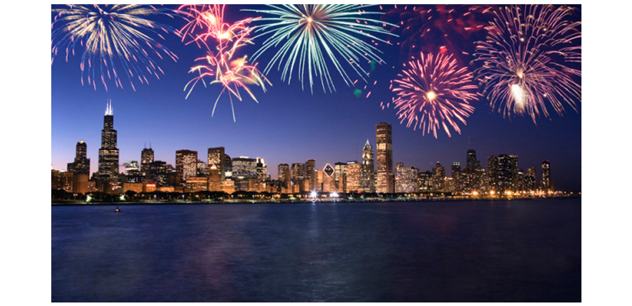 Bright Fireworks Display Across Chicago Skyline and Lake Michigan