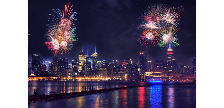 New York City Fireworks Display on Independence Day Over Hudson River