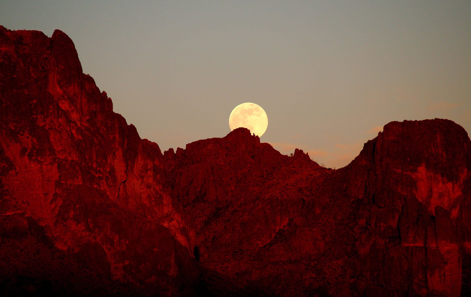 Full Strawberry Moon over Superstition Mountains by Danette C