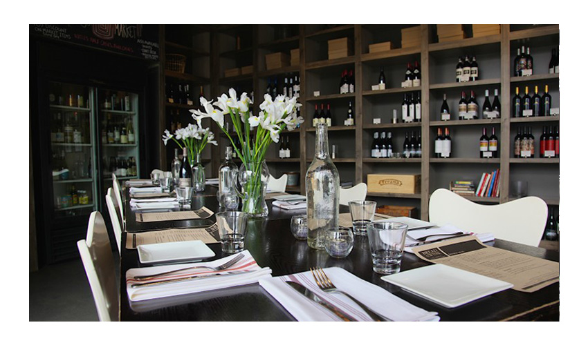 Interior Table Setting of Chicago Based Restaurant Bread and Wine