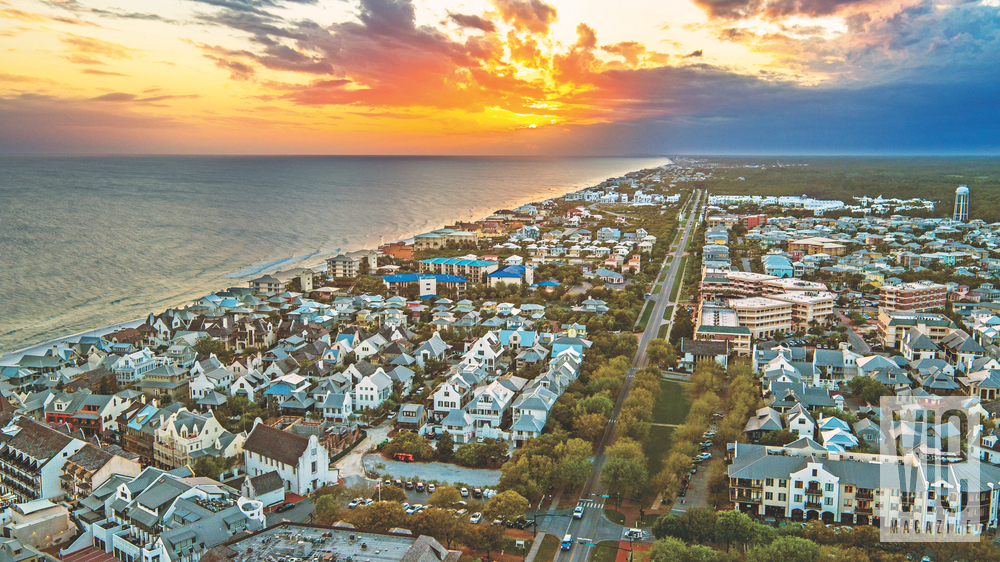 30-A's east end, the towns of Rosemary Beach, Seacrest Beach, and Alys Beach meld to create a sea of rooftops stretching to the horizon Florida