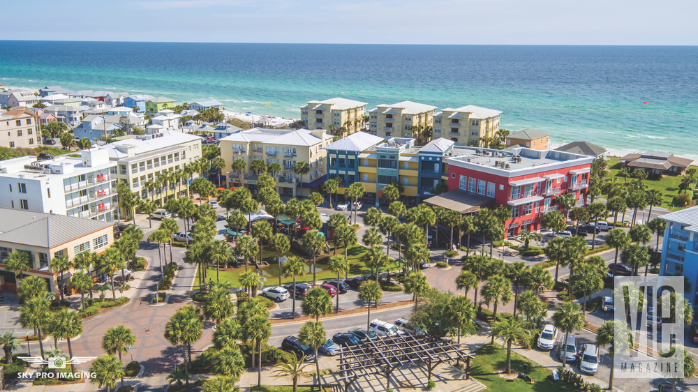 Gulf Place, one of 30-A's shopping and dining hubs, features condos atop retail spaces and restaurants and is situated near the Green, an outdoor entertainment venue.