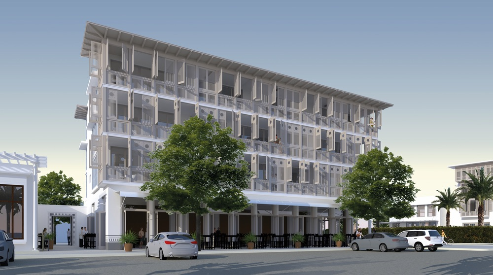 Concept rendering of expansion to Alys Beach's town center new condos retail dining