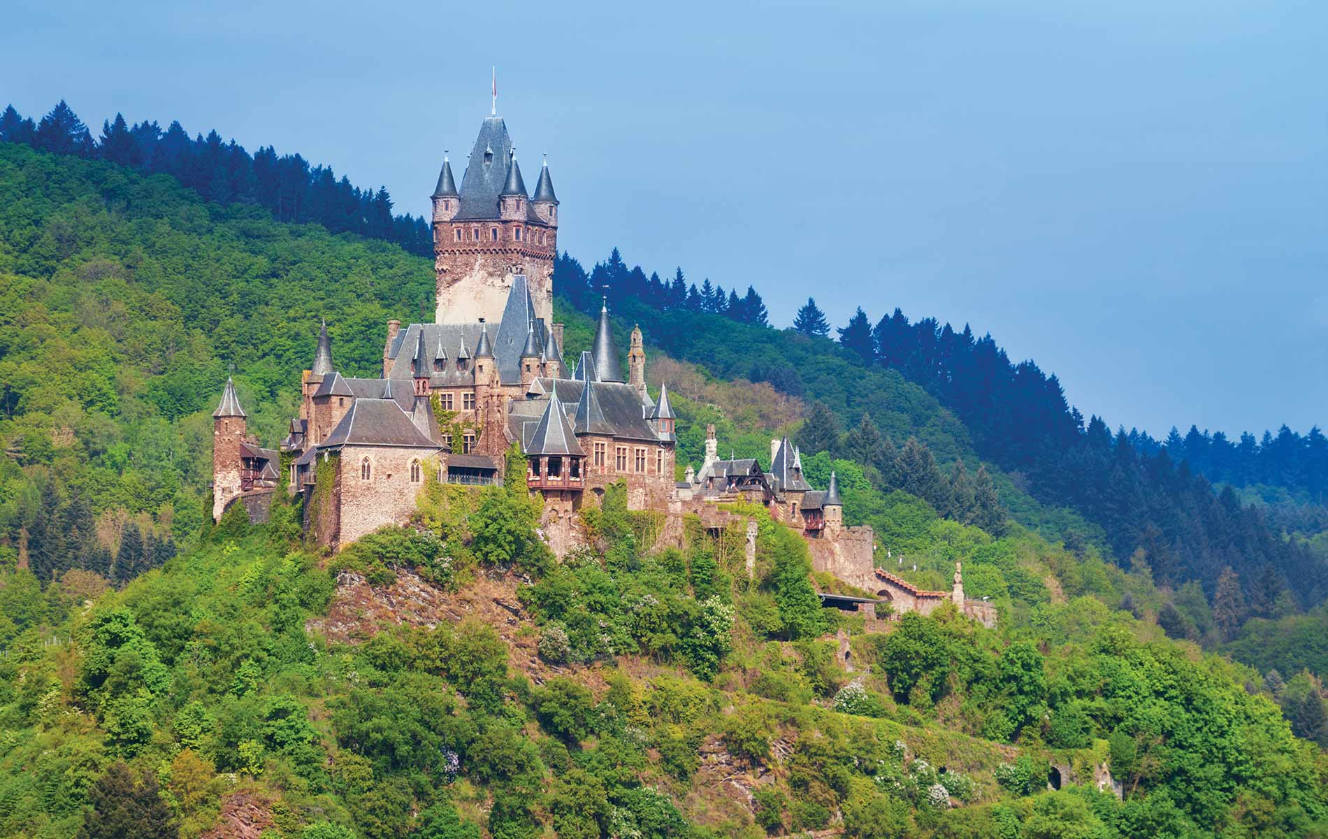Cochem Castle in Cochem Germany Reichsburg neo-Renaissance fairy tales