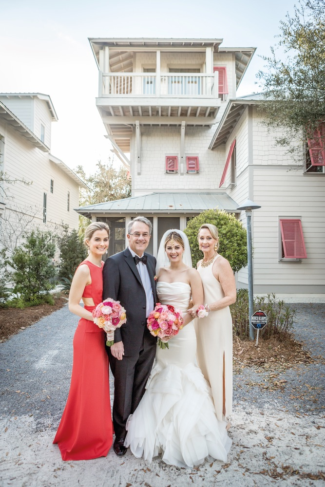 Bride and her family in Rosemary Beach Florida