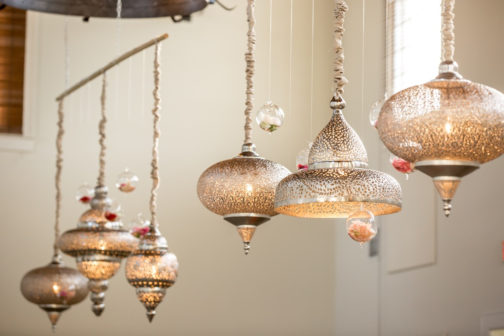Indian inspired chandeliers at a wedding reception
