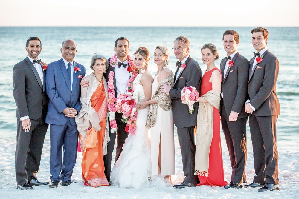 Family wedding photo on the beach Rosemary Beach Florida Indian Inspired Wedding
