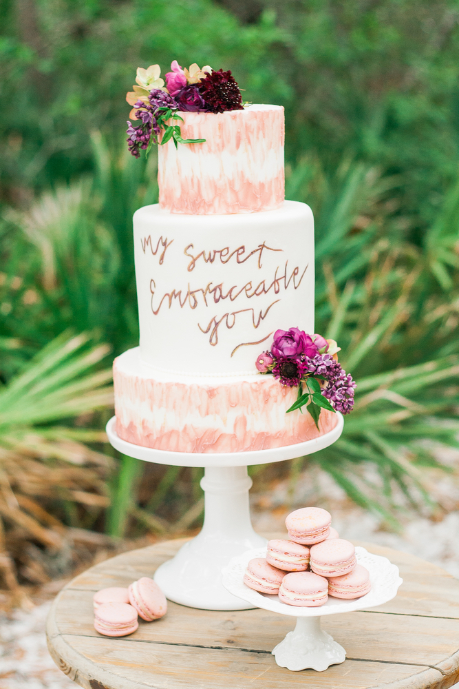 Pure7 Studios Styled Wedding Shoot food cake beach