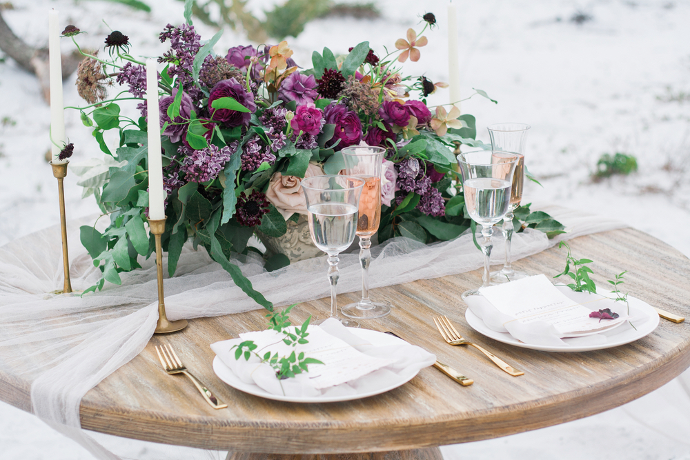 Pure7 Studios Styled Wedding Shoot table decor dinner beach