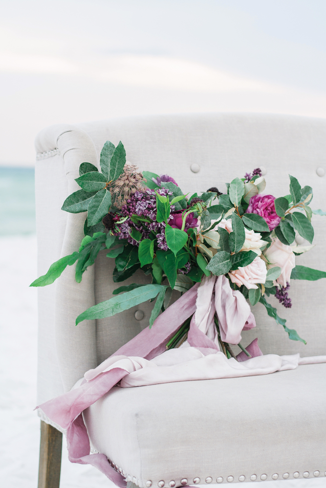 Pure7 Studios Styled Wedding Shoot chair bouquet beach
