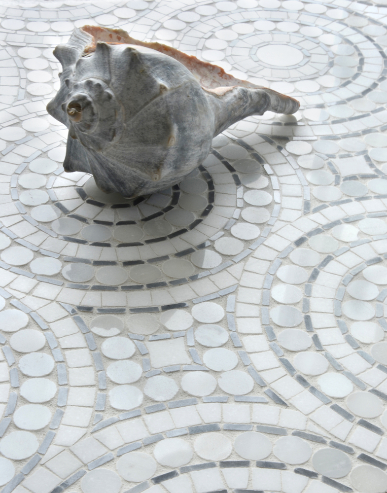 Orson, a hand cut and waterjet mosaic shown in Thassos, Bardiglio, and Statuary Carrara pennyrounds Q Tile Grayton Beach Florida Mosaic Tile Lighting Wood