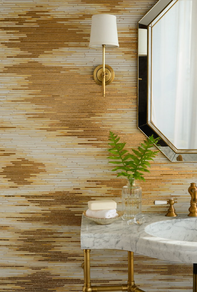 Reve, a handmade mosaic shown in 24K Gold Glass and Agate and Quartz Jewel Glass, is part of the Auroraô Collection by Sara Baldwin for New Ravenna. -Sink featured courtesy of Stone Forest Q Tile Grayton Beach Florida Mosaic Tile Lighting Wood