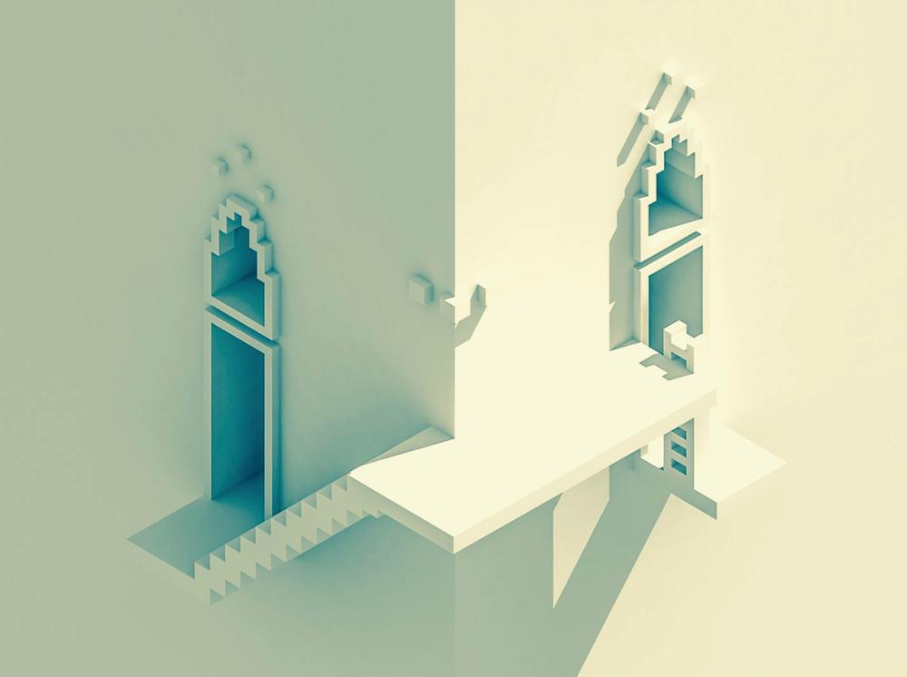 Block by Block Sir Carma Video Game Art design white building