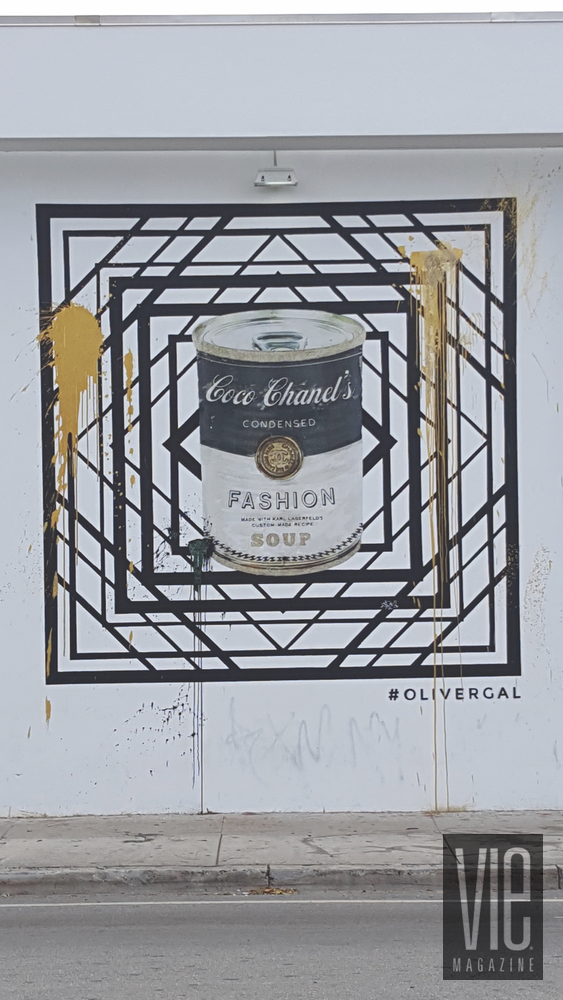 Mural painting on side of wall Wynwood Walls Miami Florida grafitti street art soup can campbell coco chanel