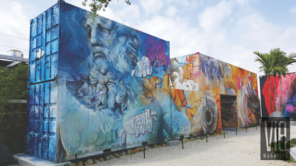Mural painting on side of shipping containers Wynwood Walls Miami Florida grafitti street art
