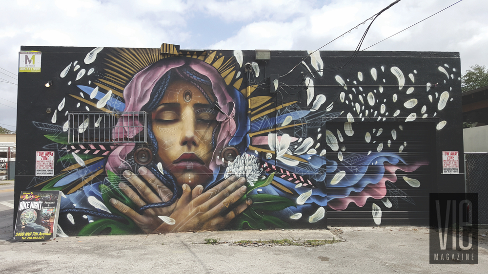 Mural painting on side of wall Wynwood Walls Miami Florida grafitti street art woman feathers