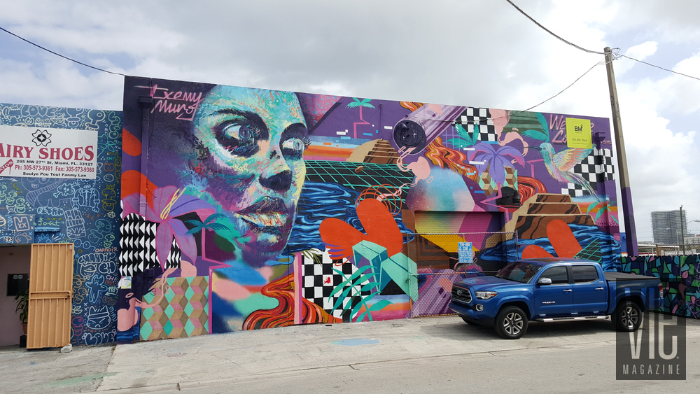 Mural painting on side of wall Wynwood Walls Miami Florida grafitti street art abstract