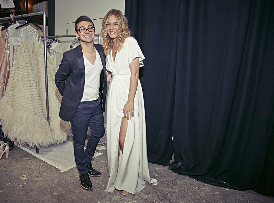 Christian Siriano with Alicia Silverstone during Christian's Spring/Summer 2016 runway show
