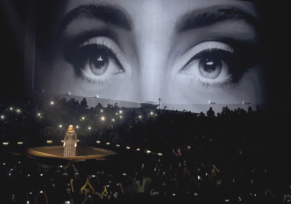 Celebrity singer Adele performing at the Staples Center in Los Angeles soulful songstress