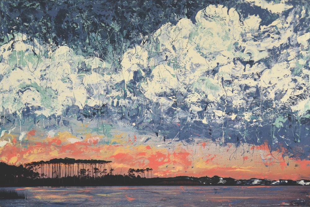 Andy Saczynski collaborative painting with Ryan Manthey photography Summertime Thunderstorm Western Lake Florida