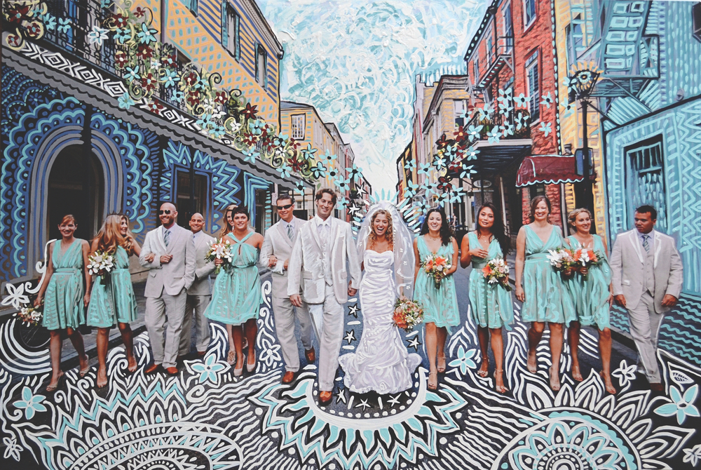 Andy Saczynski painting over Ryan Mantheys wedding party photograph in New Orleans
