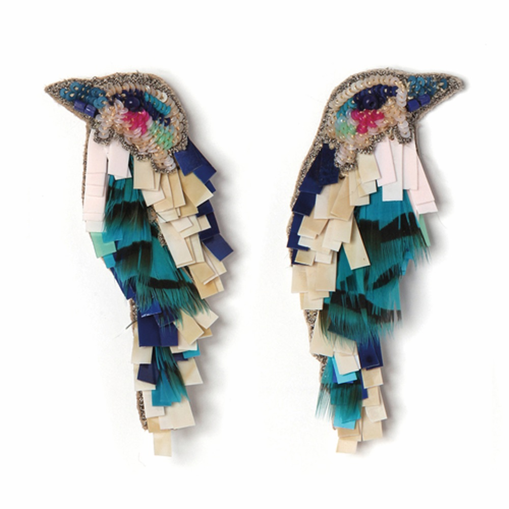 C'est La VIE Curated Collection Enchanted Garden Party Mignonne Gavigan Hand-Beaded Bird Earrings