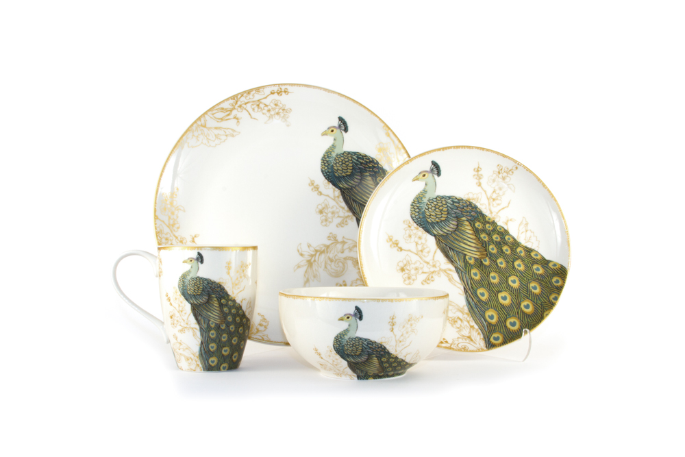 C'est La VIE Curated Collection Enchanted Garden Party 16-Piece Serene Peacock Dinnerware Service