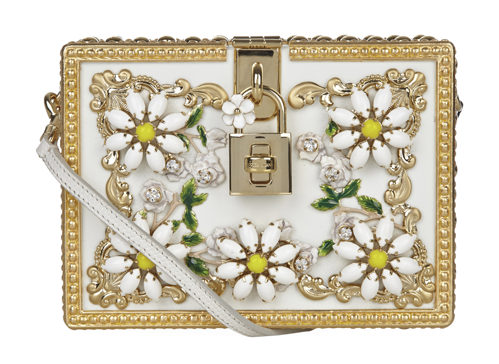 C'est La VIE Curated Collection Enchanted Garden Party Dolce & Gabbana Daisy Embellished Padlock Box Clutch