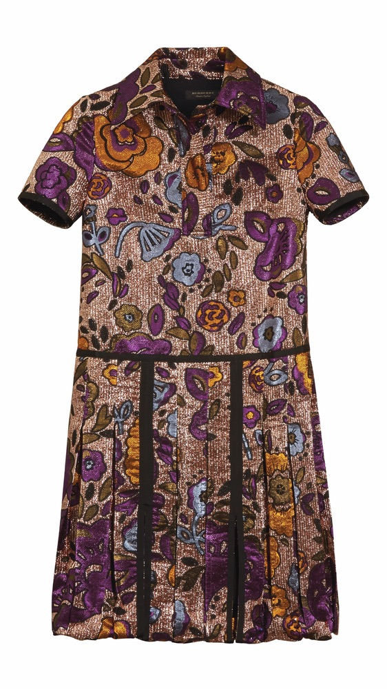 C'est La VIE Curated Collection Enchanted Garden Party Burberry Lamé and Floral Jacquard Shirt Dress