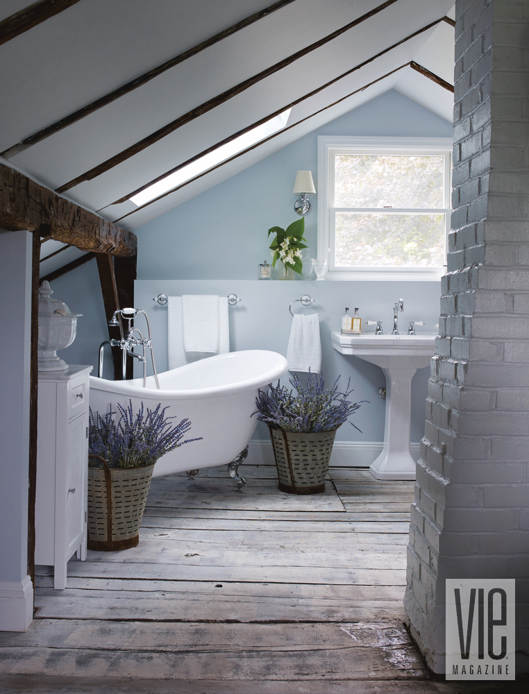 Christian Siriano and Brad Walsh attic converted master bathroom Connecticut Home Bed Bath and Beyond floral print design interior