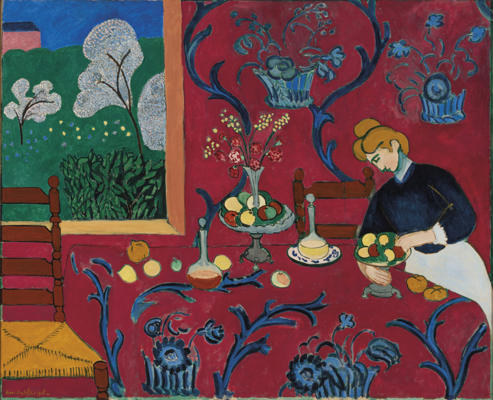 Henri Matisse, La Desserte, Harmonie en rouge, printemps-été 1908 © Succession H. Matisse. Courtesy Hermitage Museum, Saint Petersburg Louis Vuitton Icons of Modern Art: The Shchukin Collection