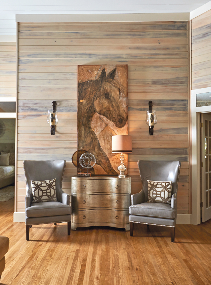 Susan Lovelace farmhouse interior design sitting chairs horse painting