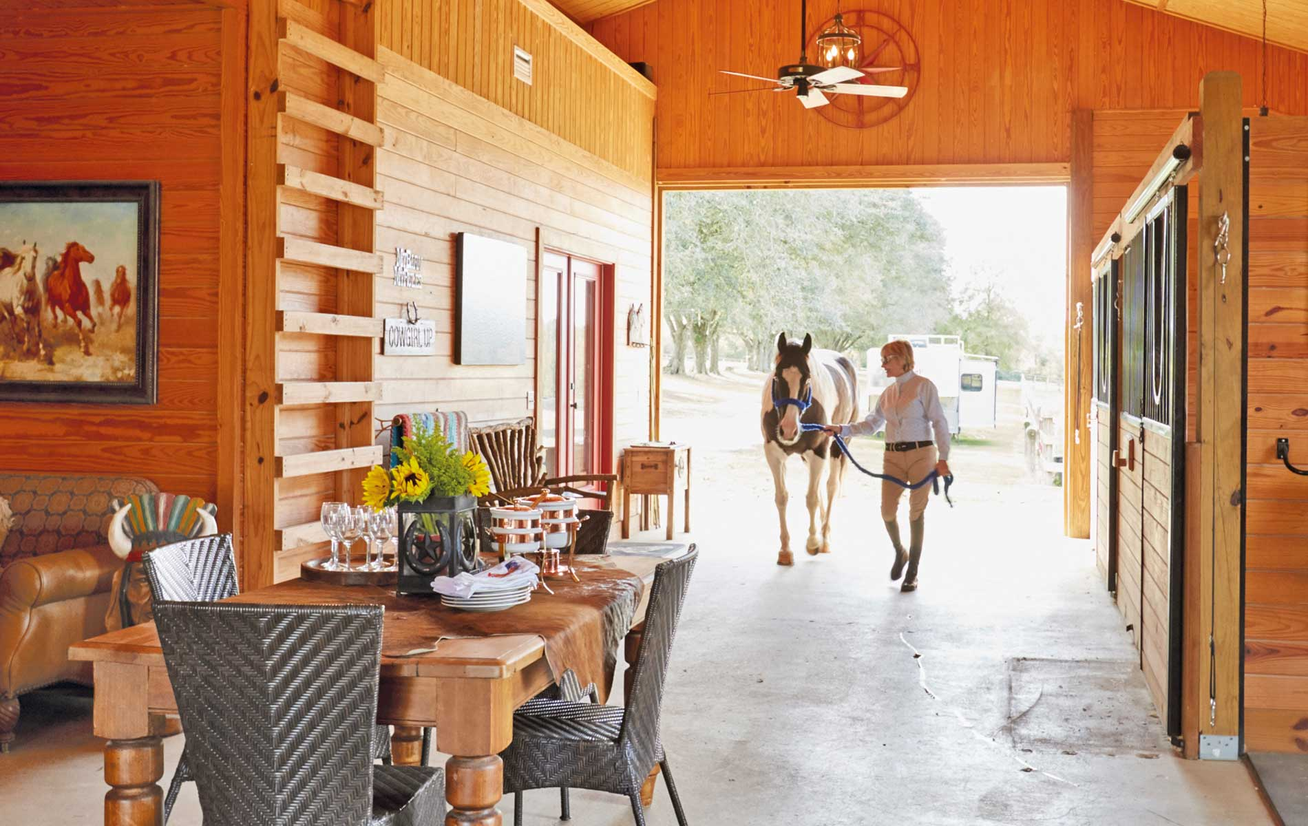 Susan Lovelace in her Cowgirl Cocktail Room Interior Design Horses