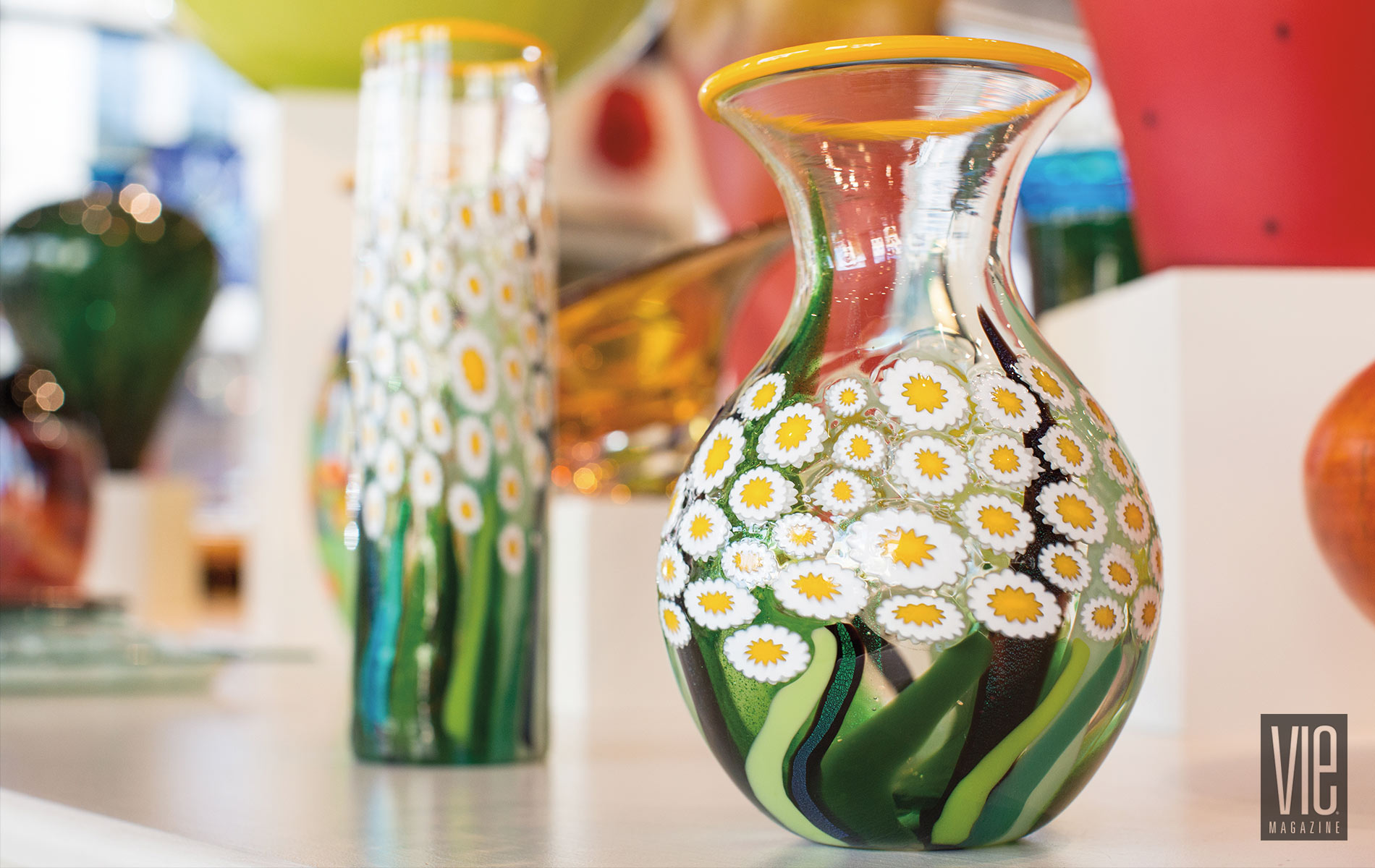 Blown glass daisy vases from Fusion Art Glass Russ Gilbert Artist