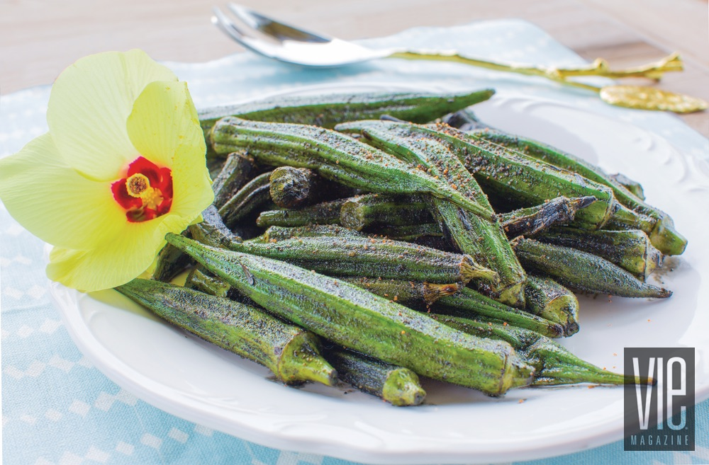 Blackened grilled okra with flower bloom fresh fall recipes from the garden