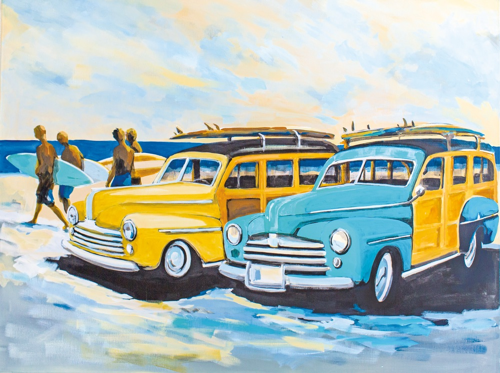 Heading to the Break – Woodies and Surfers Gordie Hinds beach artist art in its place