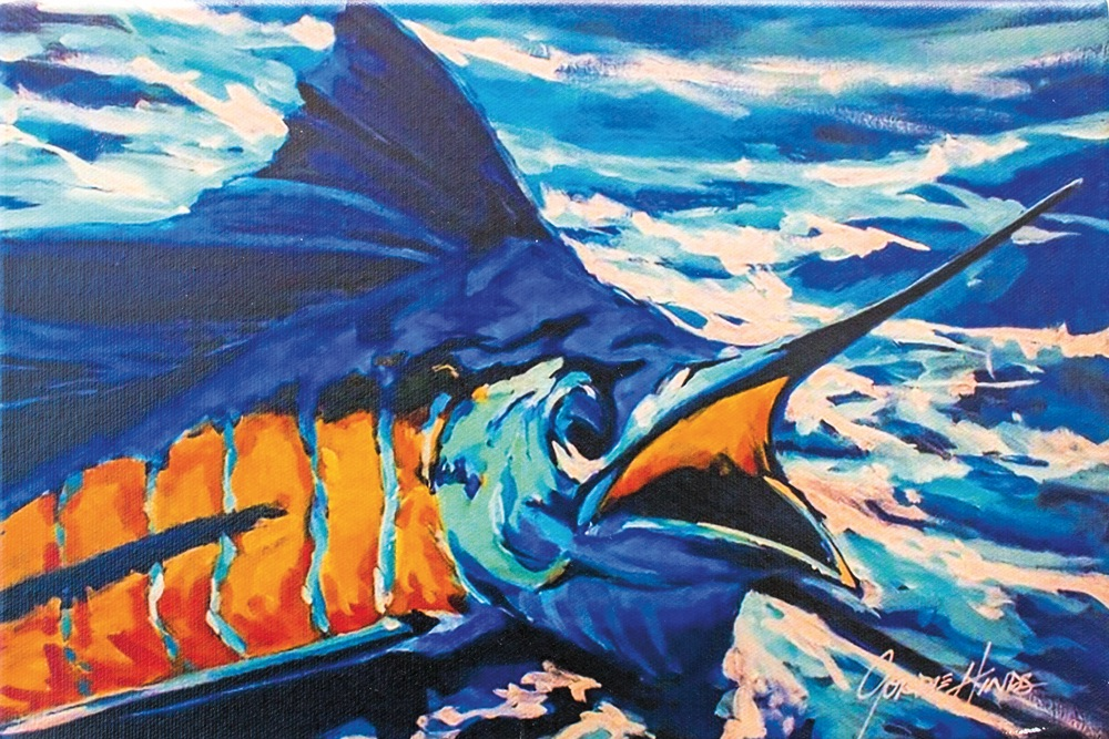 Sailfish by Gordie Hinds beach artist paint colorful fish art