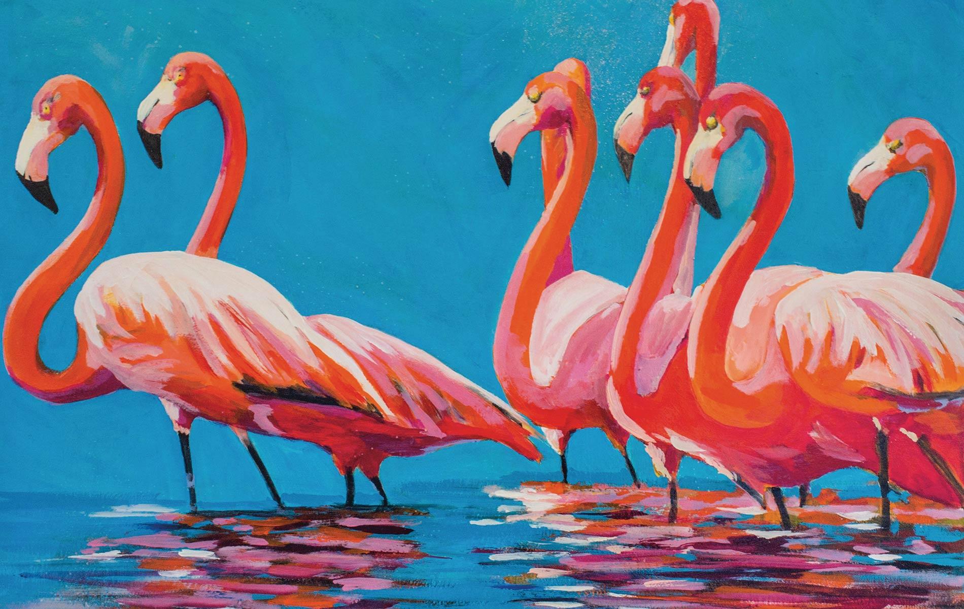 American Flamingos at Key Biscayne by Gordie Hinds art flamingos paint artist