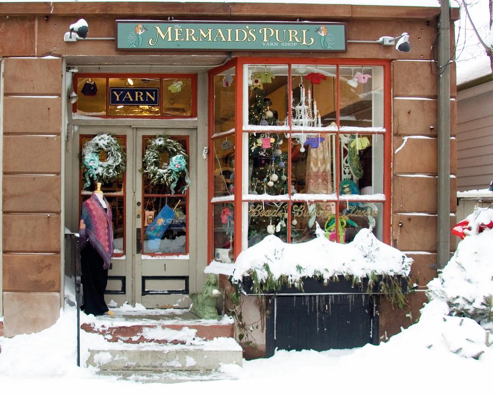 Exterior of Mermaid's Purl knitting shop snowy handmade resurgence
