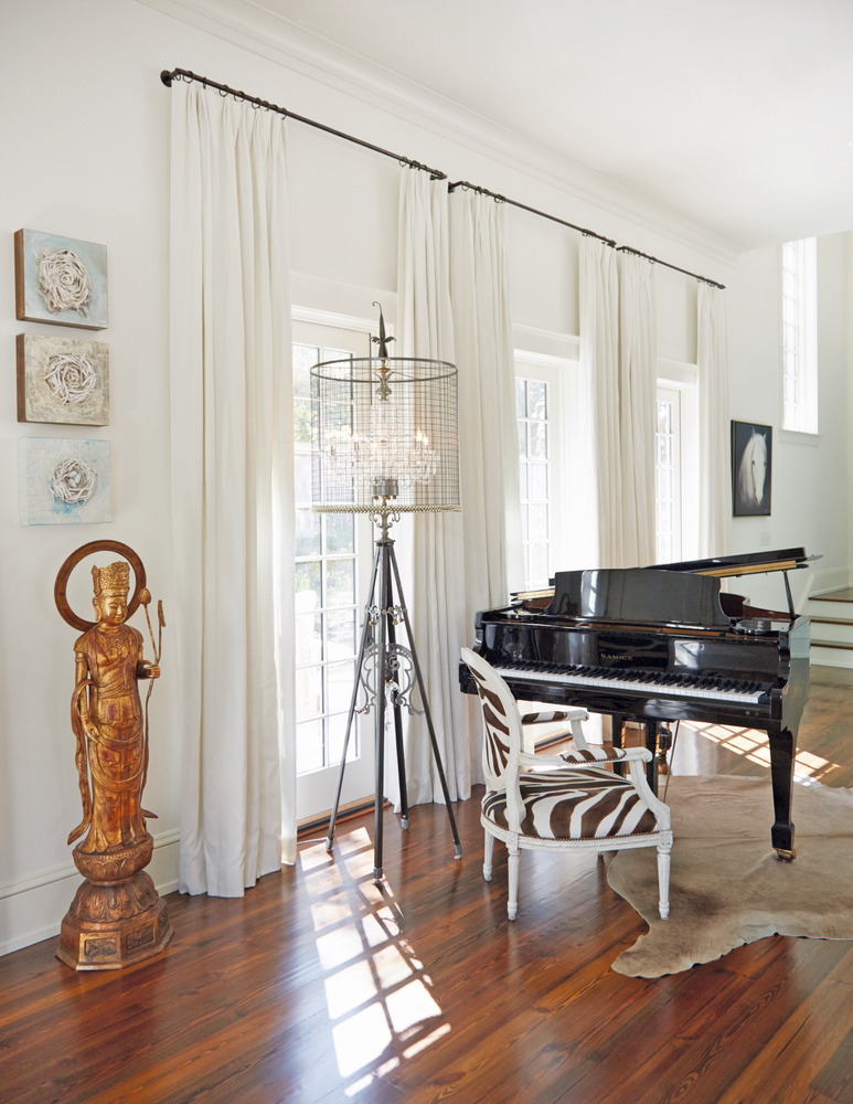 Susan Lovelace Destin home baby grand piano interior design