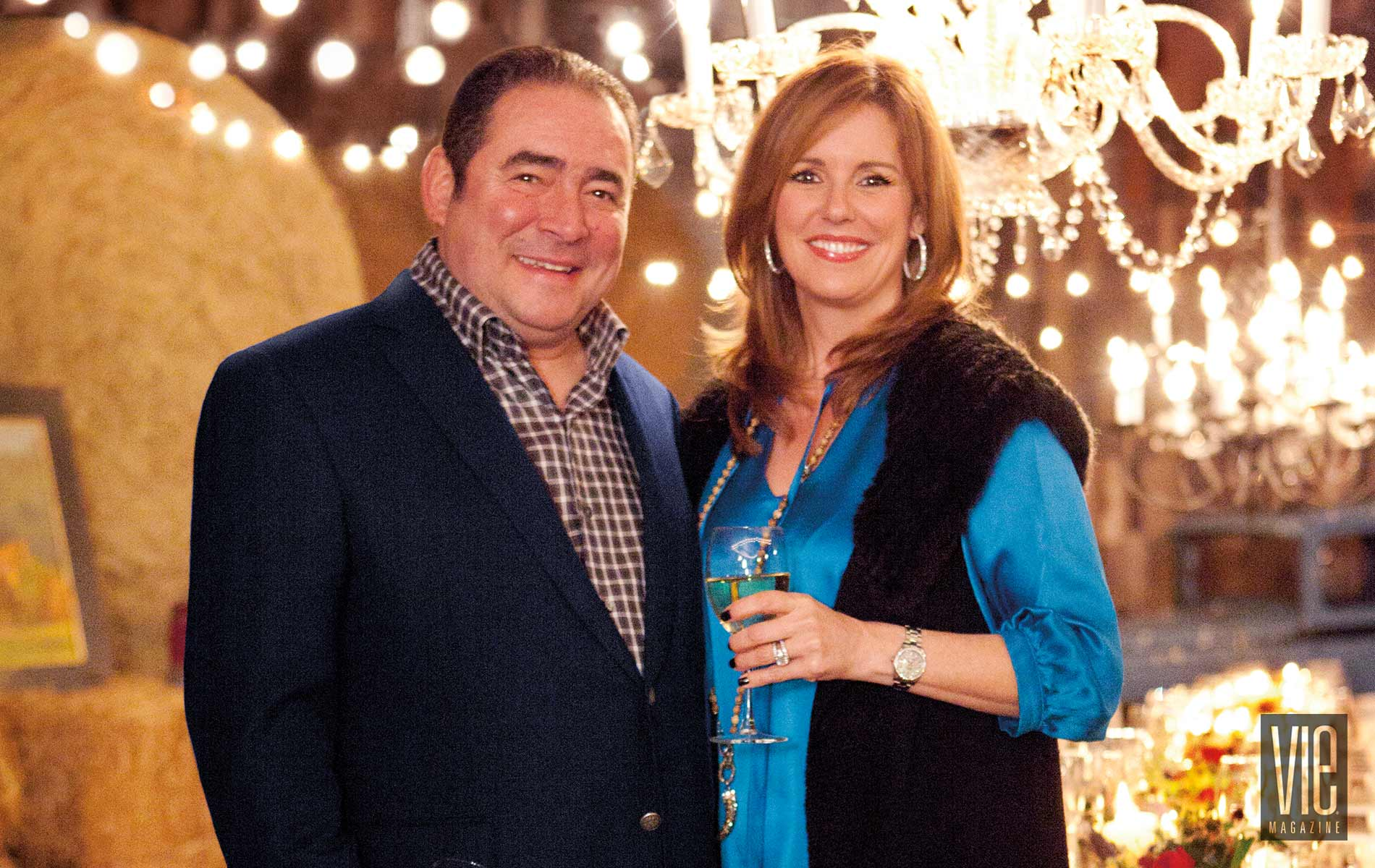 Chef Emeril Lagasse and wife Alden at event